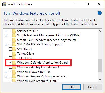 Windows 10 Fall update 1709 Security Feature 1: Windows